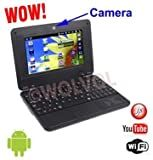 WolVol BLACK 7 inch Laptop NETBOOK WiFi Built-in Camera TONS of Android Games and Apps 4gb HD 256mb RAM (INCLUDES: Velvet Pouch Case, Charger, Mini Optical Mouse)