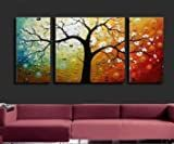 Santin Art-3 Piece Canvas Art Modern Art 100% Hand Painted Oil Painting on Canvas Wall Art Deco Home Decoration (Stretched and framed)