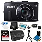 Canon PowerShot SX280 HS 12.1 MP CMOS Digital Camera with 20x Image Stabilized Zoom 25mm Wide-Angle Lens and 1080p Full-HD Video (Black) Super Bundle- Includes camera, 16 GB SDHC Memory Card, BP-6L Battery Pack, Carrying Case, SD USB Card Reader