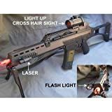 Double Eagle G36 Spring Airsoft Gun w/ Bipod, Laser, Red Dot Sight, and Flashlight 270-FPS Airsoft Gun