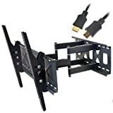 VideoSecu Plasma LCD LED HDTV Articulating Tilt TV Wall Mount Bracket Fits most Samsung 32' 36' 37' 38' 40' 42' 46' 47' 48' 50' 52' 55' 58' 60' Flat Screen Television with bonus HDMI cable 1SR