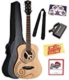 Luna Safari Series Peace Travel-Size Dreadnought Acoustic Guitar Bundle with Gig Bag, Strap, Tuner, Strings, Pick Card, and Polishing Cloth