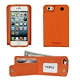 TORU Saffiano Backflip Wallet Case for iPhone 5/5S (AT&T, Sprint, T-Mobile, Verizon & All International models) - Orange