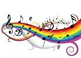 Wallmonkeys Music Theme Notes on White Background with Rainbow Peel and Stick Wall Decal, 30-Inch Width by 22-Inch Height