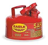 Eagle UI-10-S Red Galvanized Steel Type I Gas Safety Can, 1 gallon Capacity, 8' Height, 9' Diameter