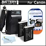 2 Pack Battery And Charger Kit For Canon PowerShot SX260 HS, SX260HS, Canon SX280 HS, SX280HS, SX500 IS, SX500IS, SX510 HS, SX510HS SX170 IS, S120 Digital Camera Includes 2 Extended Replacement (1200Mah) NB-6L Batteries + Ac/Dc Rapid Travel Charger +More
