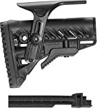 Fab Defense Mako Stealth Black GLR 16 CP GLR16CP Stock Buttstock with Battery Storage Compartment + Attachment Points for Slings + Rubber Butt Pad Buttpad + Cheek Piece Riser + Ultimate Arms Gear Tactical AK-47 AK47 AK-74 Stamped Receiver Rifle With Comm Comme