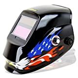 Neiko Auto Darkening Solar Powered Welding Helmet - ANSI Approved, American Eagle Design with Polished Black Finish