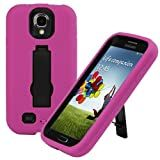 Evecase� ARMURE Heavy Duty Dual Layer Protective Case with Kick-Stand for Samsung Galaxy S4 / S IV i9500 Android Smartphone (All Carrier Version) - Hot Pink / Black