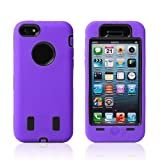 Meaci� Iphone 5c Case 3in1 Combo Hybrid Defender High Impact Body Armorbox Hard Pc&silicone Case with 1x Diamond Anti-dust Plug Stopper-random Color (purple&black)