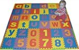We Sell Mats Lowercase 36 Sq. Ft. Alphabet and Number Floor Puzzle-Each Tile 12'x12'x .375' Thick with Borders