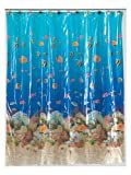 Carnation Home Fashions 6-Feet by 6-Feet Vinyl Print Shower Curtain, Sealife
