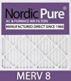 Nordic Pure 20x30x1M8-6 MERV 8 Pleated AC Furnace Air Filter , 20x30x1, Box of 6