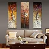 3 Pics Ballet Dancers Abstract Modern Art 100% Hand Painted Oil Painting on Canvas Wall Art Deco Home Decoration (Unstretch No Frame)