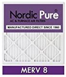 Nordic Pure 16x25x1M8-12 MERV 8 Pleated AC Furnace Air Filter, 16x25x1, Box of 12