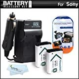 2 Pack Battery And Charger Kit For Sony Cyber-shot DSCRX100, DSC-RX100, DSC-RX100M II, DSC-RX1, DSC-HX300, DSC-WX300, DSC-HX50V, DSC-HX50V/B, HDR-AS10, HDR-AS15, HDR-AS30V HD Action Camcorder Includes 2 Replacement (1600Mah) NP-BX1 Batteries + Charger