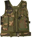 Ultimate Arms Gear Tactical Woodland Camo Camouflage Lightweight Edition Tactical Scenario Military-Hunting Assault Vest w/ Right Handed Quick Draw Pistol Holster