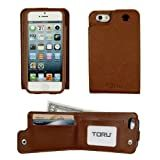 TORU Saffiano Backflip Wallet Case for iPhone 5/5S (AT&T, Sprint, T-Mobile, Verizon & All International models) - Brown