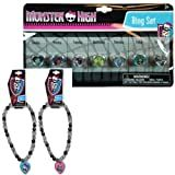 Monster High Accessory Jewelry Gift Set - 2 Monster High Necklaces (One Pink and One Blue Heart) and Monster High Day of the Week Pretend Play Ring Set for Kids