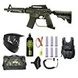 US Army Alpha Black Tactical Paintball Marker Gun 3Skull Vest Sniper Set - Black