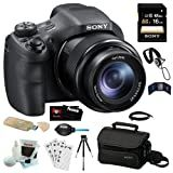 Sony DSC-HX300 20.4MP Digital Camera with 50x Optical Zoom and 3-Inch LCD in Black + Sony 16GB SDHC + Sony Camera Case + Micro HDMI Cable + Accessory Kit