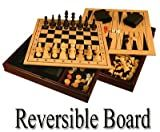 14.5' Wooden 3 in 1 Checkers, Chess & Backgammon Game Set