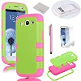 Pandamimi ULAK 3in1 Green Hybrid High Impact + Pink Silicone Case Cover For Samsung Galaxy S3 III I9300 W/Screen Guard+Stylus