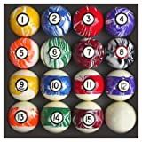 Pool Table Billiard Ball Set, Swirl/Marble Style