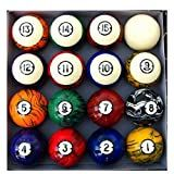 Pool Table Billiard Ball Set, Dark Marble Classic Style