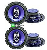 4) NEW Pyle PL63BL 6.5' 720 Watt 3-Way Car Audio Coaxial Speakers Blue Stereo