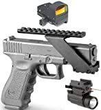 Ultimate Arms Gear Tactical Combo Combination Package Kit Set Pistol Includes Precision Machined Aluminum No Gunsmithing Weaver Picatinny Top & Bottom Rail Pistol Gun Handgun Scope Mount for Sights , Lasers , Lights and Accessories + Tactical Micro Compact Red