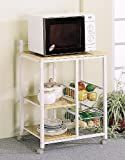 White & Natural Finish Kitchen Microwave Cart w/Casters