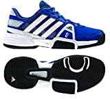 Adidas Adipower Barricade Team 3 XJ Junior Tennis Shoe-Blue Beauty/Running white/ Metallic Silver