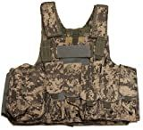 Ultimate Arms Gear Tactical ACU Army Digital Camo Camouflage Carrier Military Hunting Vest With MOLLE Web Modular System With Included 7 Modular Pouches