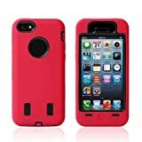 Meaci® Iphone 5c Case 3in1 Combo Hybrid Defender High Impact Body Armorbox Hard Pc&silicone Case with 1x Diamond Anti-dust Plug Stopper-random Color (red&black)