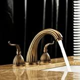 LightInTheBox Antique Brass Finish Widespread Bathroom Sink Faucet