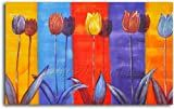 Hand Painted 'Tulips on Color' Oil Canvas Art