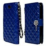 TORU iHand Diamond Quilted Fashion Wallet Case for Samsung Galaxy Note 2 II - Blue