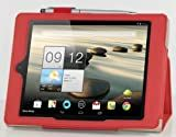 IVSO Acer Iconia A1-810 7.9-Inch Slim-BOOK PU Leather Stand Cover Case (Red)