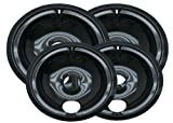 Range Kleen P119204X Porcelain GE Drip Pans Set Of 4 Containing 2 Units P119, P120, Black