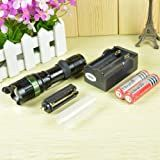 2013 Ultrafire 1000 Lumens Zoomable Cree Xm-l T6 5-Mode LED 18650 3x AAA Zoom Flashlight Torch Lamp+ 2 x 3000mAh Rechargeable battery+ US plug Charger