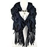 Navy Blue Women Winter Warm Waved Shaped Pendant Jewelry Scarf,nl-1932a