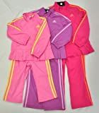 NEW Adidas Girls 3pc Track Suit Full Zip Jacket Wind Pants T Shirt Pink Purple