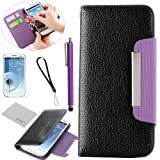 Pandamimi ULAK Black Purple Flip PU Leather Wallet Purse Case Cover With Card Holder for Samsung Galaxy S3 i9300, I747, L710, T999,i535 - AT&T, T Mobile, Sprint, with Screen Protector + Stylus