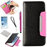 Pandamimi ULAK Black Hot pink Flip PU Leather Wallet Purse Case Cover With Card Holder for Samsung Galaxy S3 i9300, I747, L710, T999,i535 - AT&T, T Mobile, Sprint, with Screen Protector + Stylus