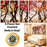 Framed Huge Canvas Print 5 Panel Autumn Forest Painting Art on Giclee Canvas Print