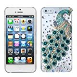 MYBAT IPHONE5HPCBKXTLDM3D617WP Premium Crystal 3D Diamante Case for iPhone 5 - 1 Pack - Retail Packaging - Turquoise Peacock