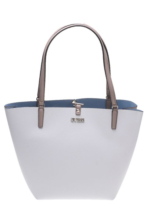 GUESS - Γυναικεία τσάντα ώμου ALBY TOGGLE TOTE λευκή μπλε