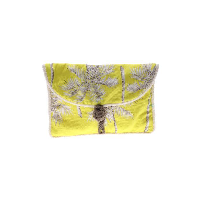 SUN OF A BEACH - Γυναικείο τσαντάκι clutch SUN OF A BEACH κίτρινο λευκό