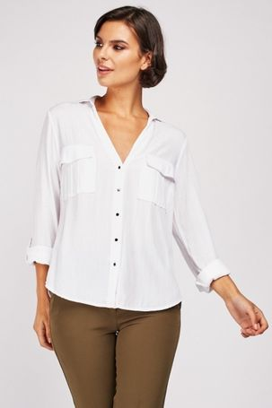 White Twin Pocket Front Shirt
